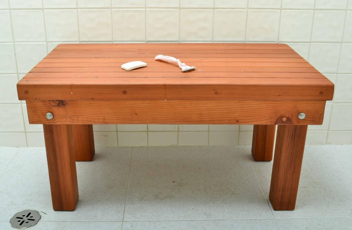 Patio Shower Bench: Outdoor Wood Bench for Shower