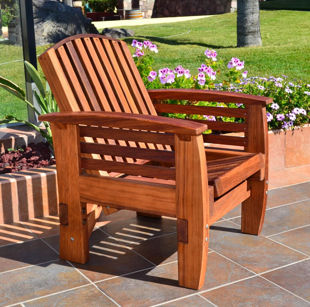 Reclining Redwood Easy Chair Outdoor Wood Recliners