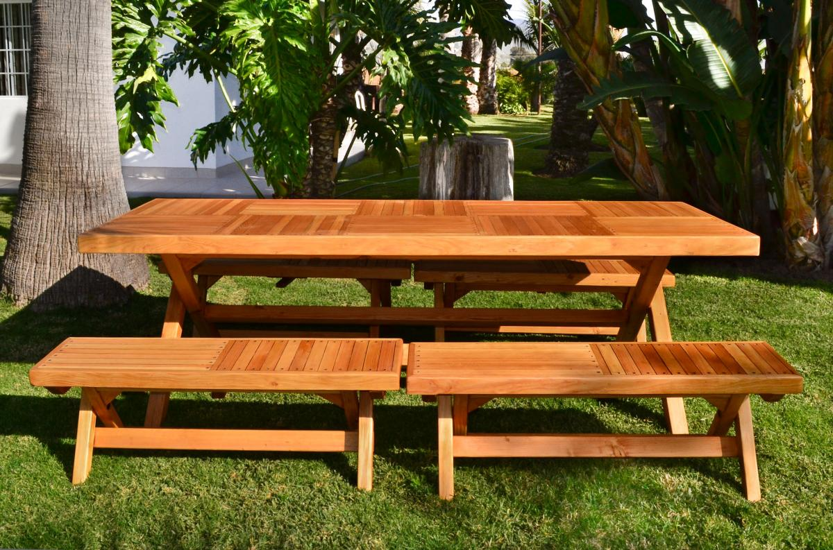 Redwood Rectangular Folding Picnic Table With Foldup Legs - 96 picnic table