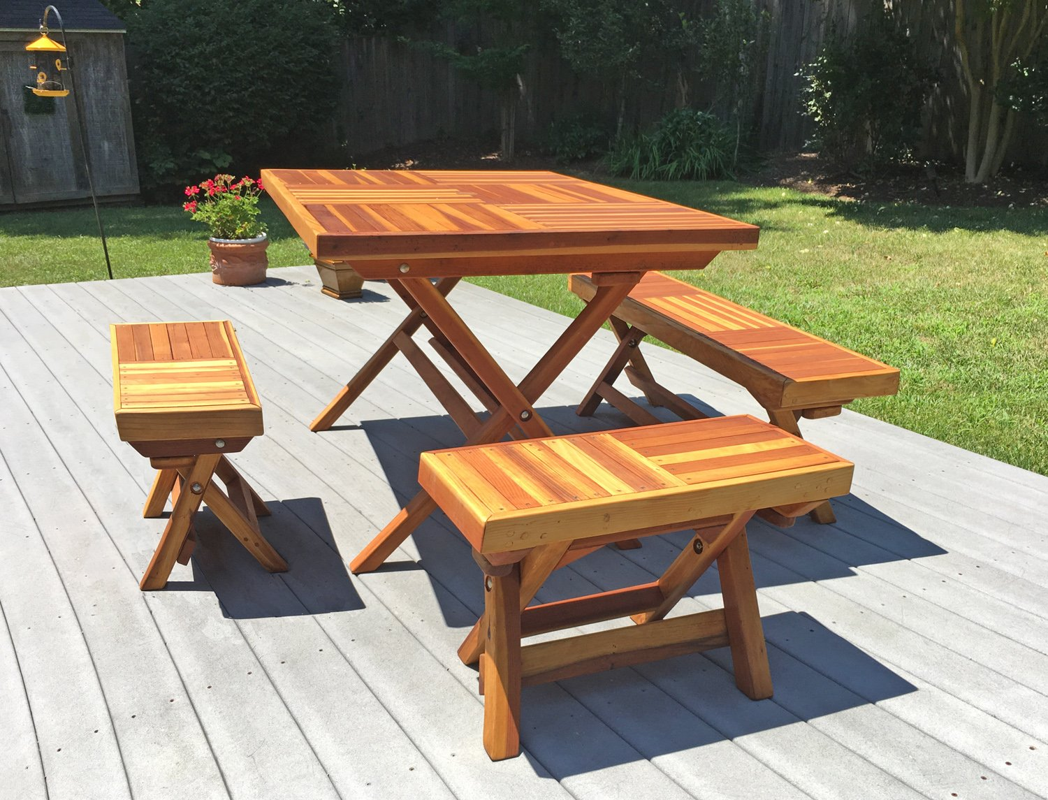 Redwood Rectangular Folding Picnic Table With Foldup Legs - Ready to assemble picnic table