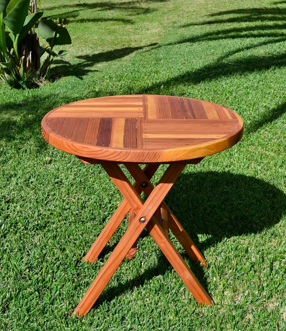 Pleasant Redwood Round Folding Table And Chairs Set Custom Wood Theyellowbook Wood Chair Design Ideas Theyellowbookinfo