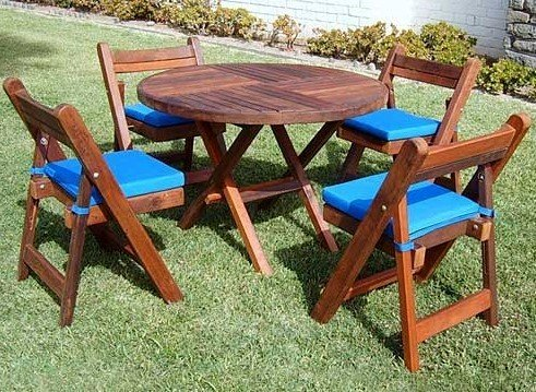 Redwood Folding Table And Chairs Set Custom Wood Furniture