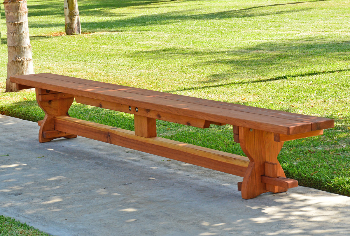 Redwood Trestle Bench Custom Outdoor Wooden Bench