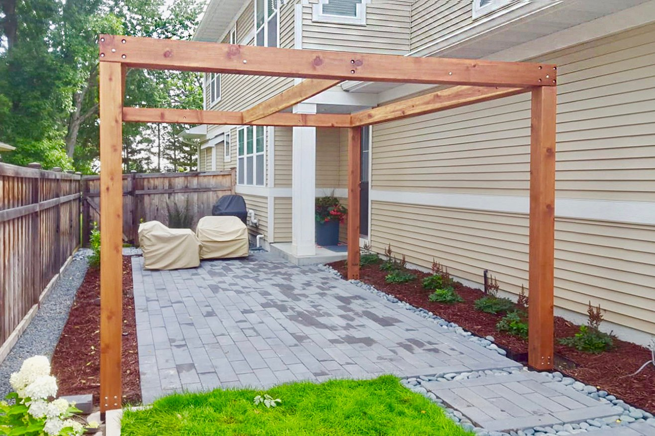 Retractable Shade Canopy Pergola Kit, Custom Made from Redwood