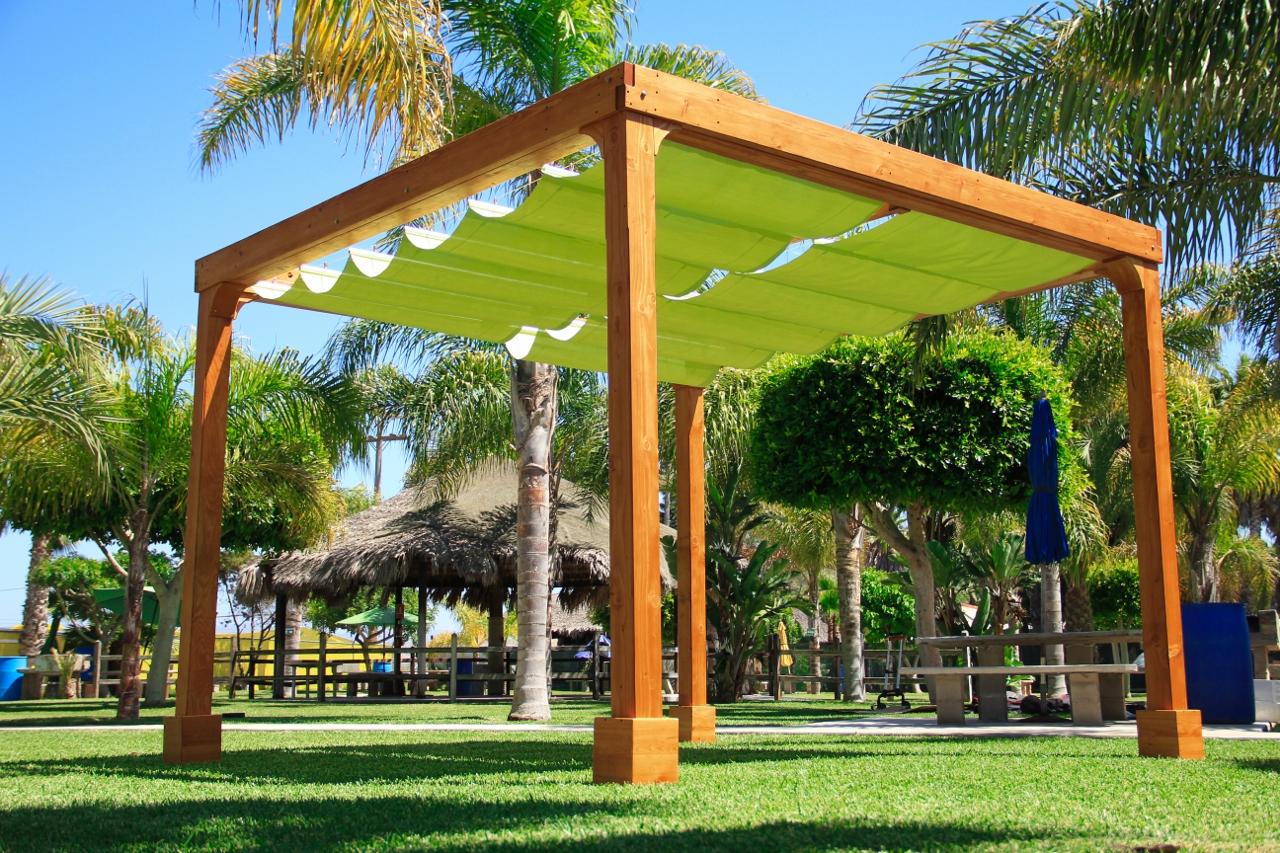 Retractable Shade Canopy Pergola Kit, Custom Made from Redwood