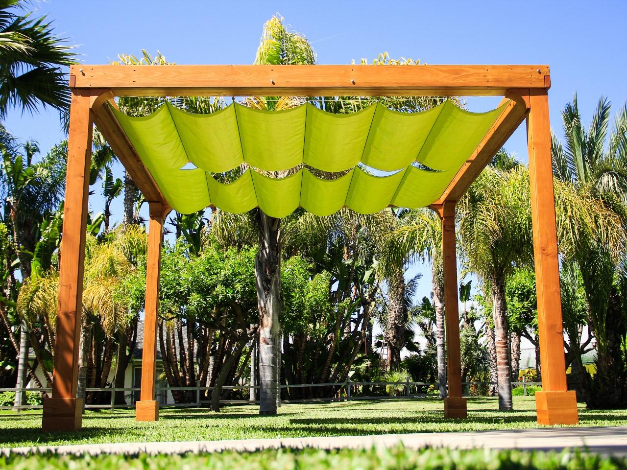 Retractable Shade Canopy Pergola Kit Custom Made From Redwood