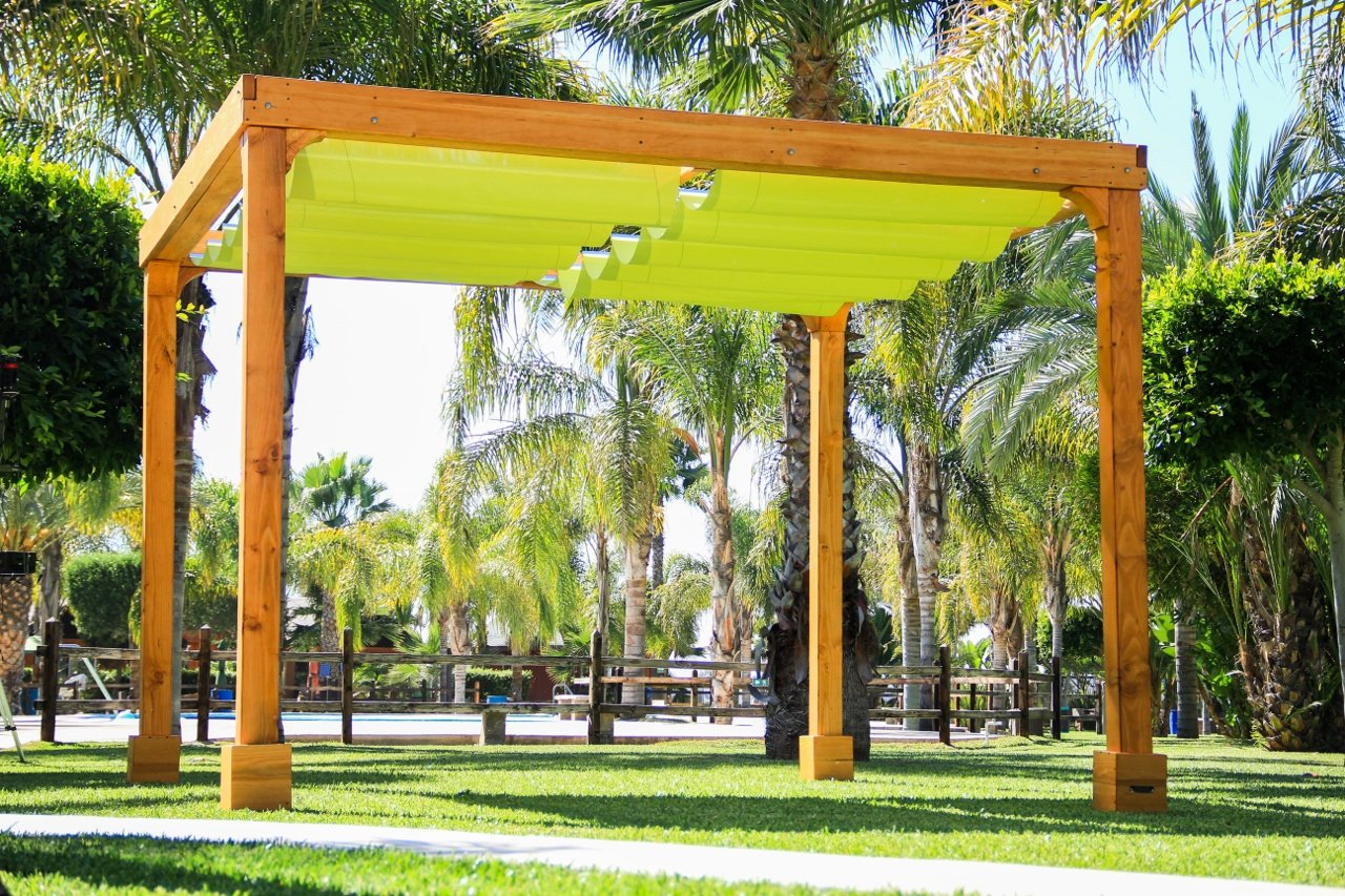 Retractable Shade Canopy Pergola Kit (Options: 12' L x 12' W, ... - Retractable Shade Canopy Pergola Kit, Custom Made From Redwood