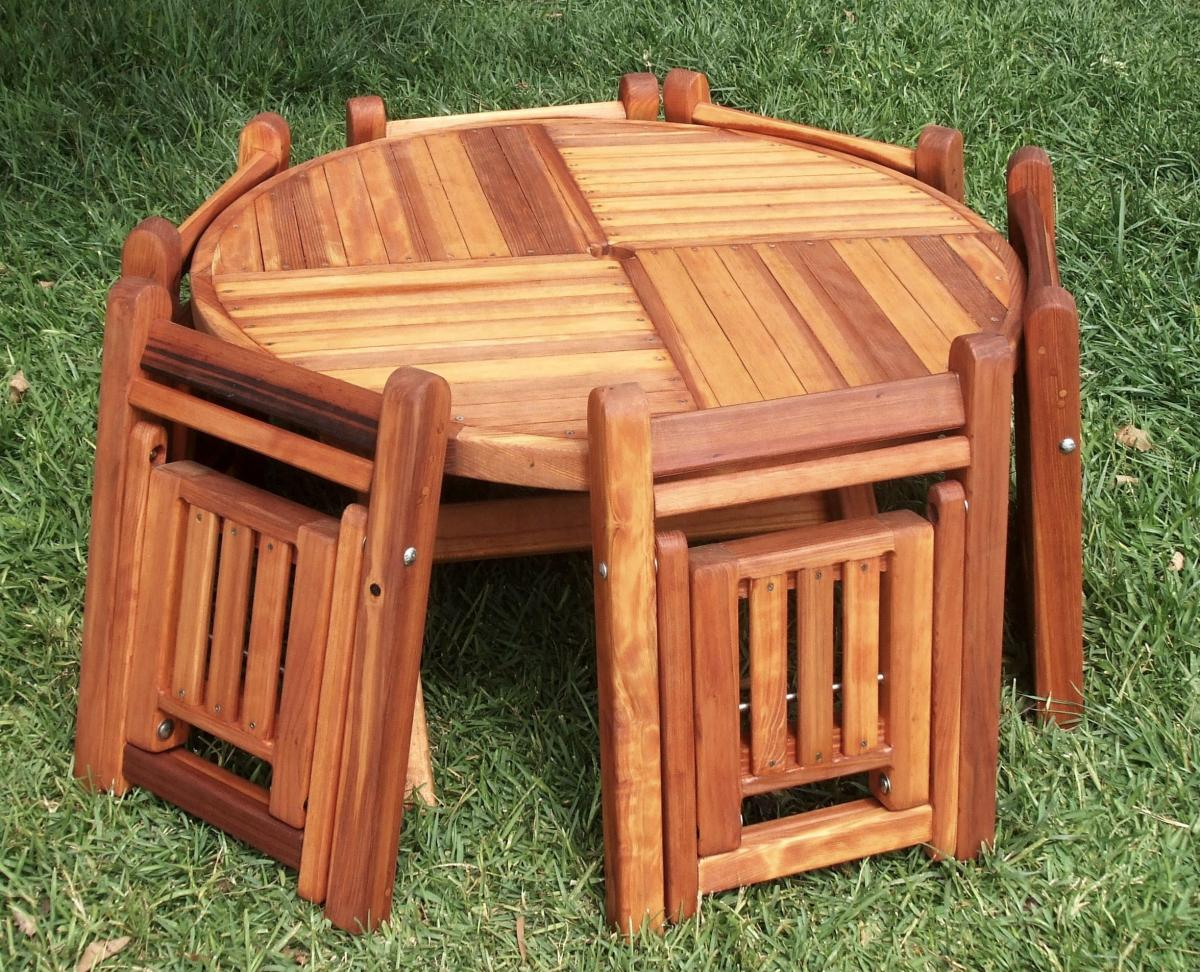 Round Folding Wood Tables For Kids Forever Redwood