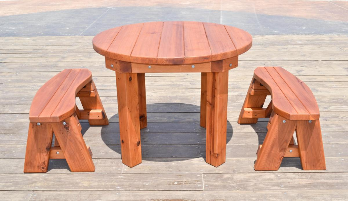 durable outdoor patio table custom wood round tables. Black Bedroom Furniture Sets. Home Design Ideas
