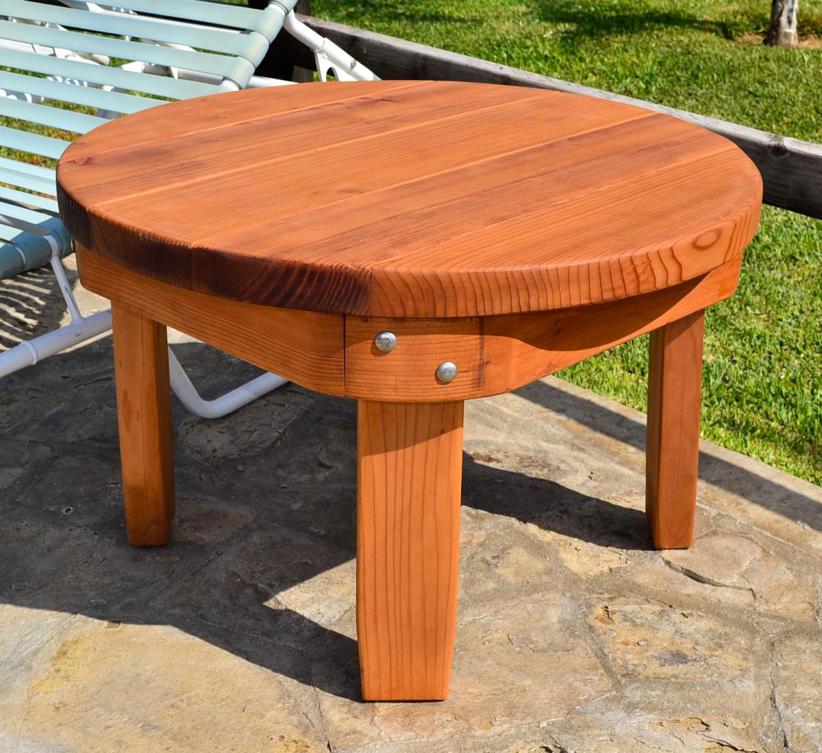 Solid Wood Side Table Classic Redwood Side Table