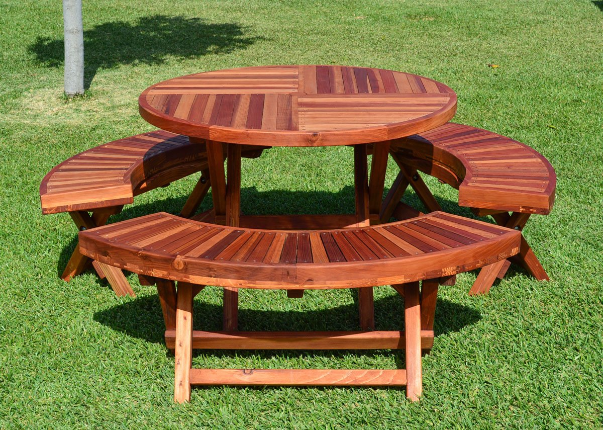 Round Wood Folding Picnic Table with Curved Benches | Forever Redwood