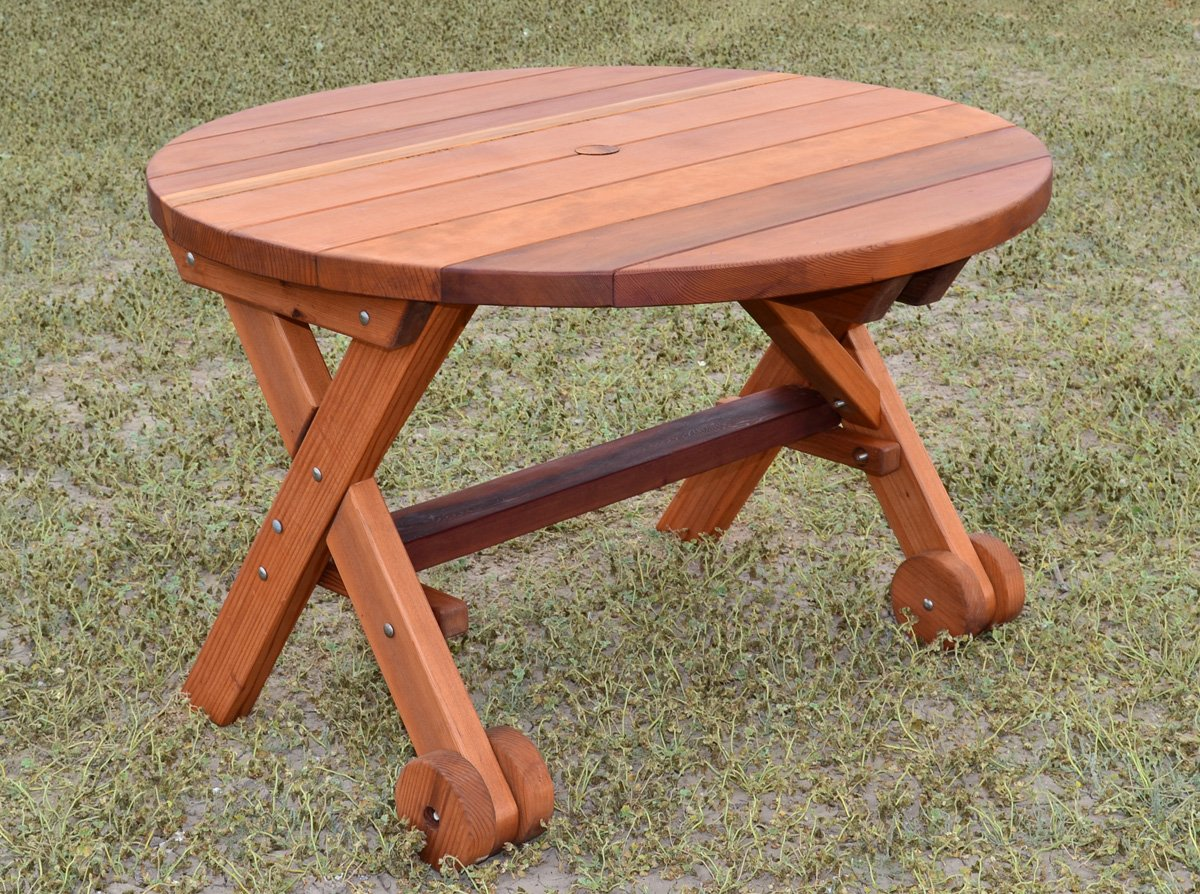 Round Wood Picnic Table With Wheels