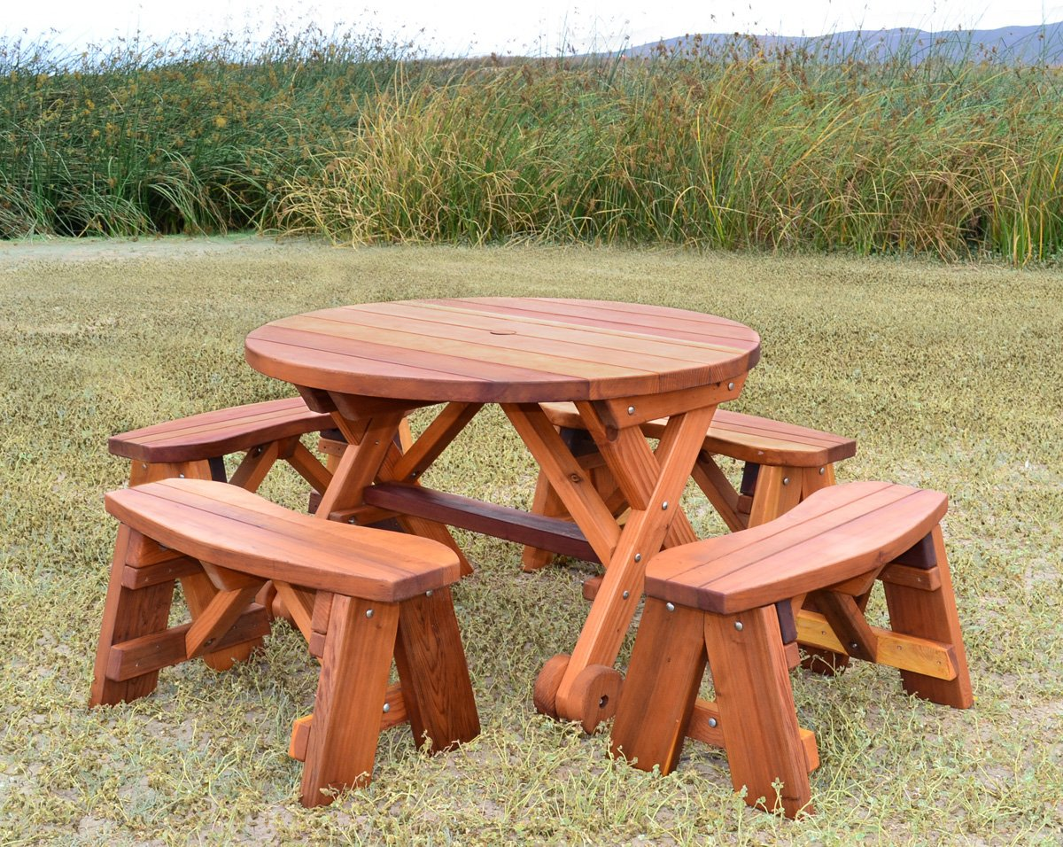 Outstanding Round Wood Picnic Table With Wheels Forever Redwood Pabps2019 Chair Design Images Pabps2019Com