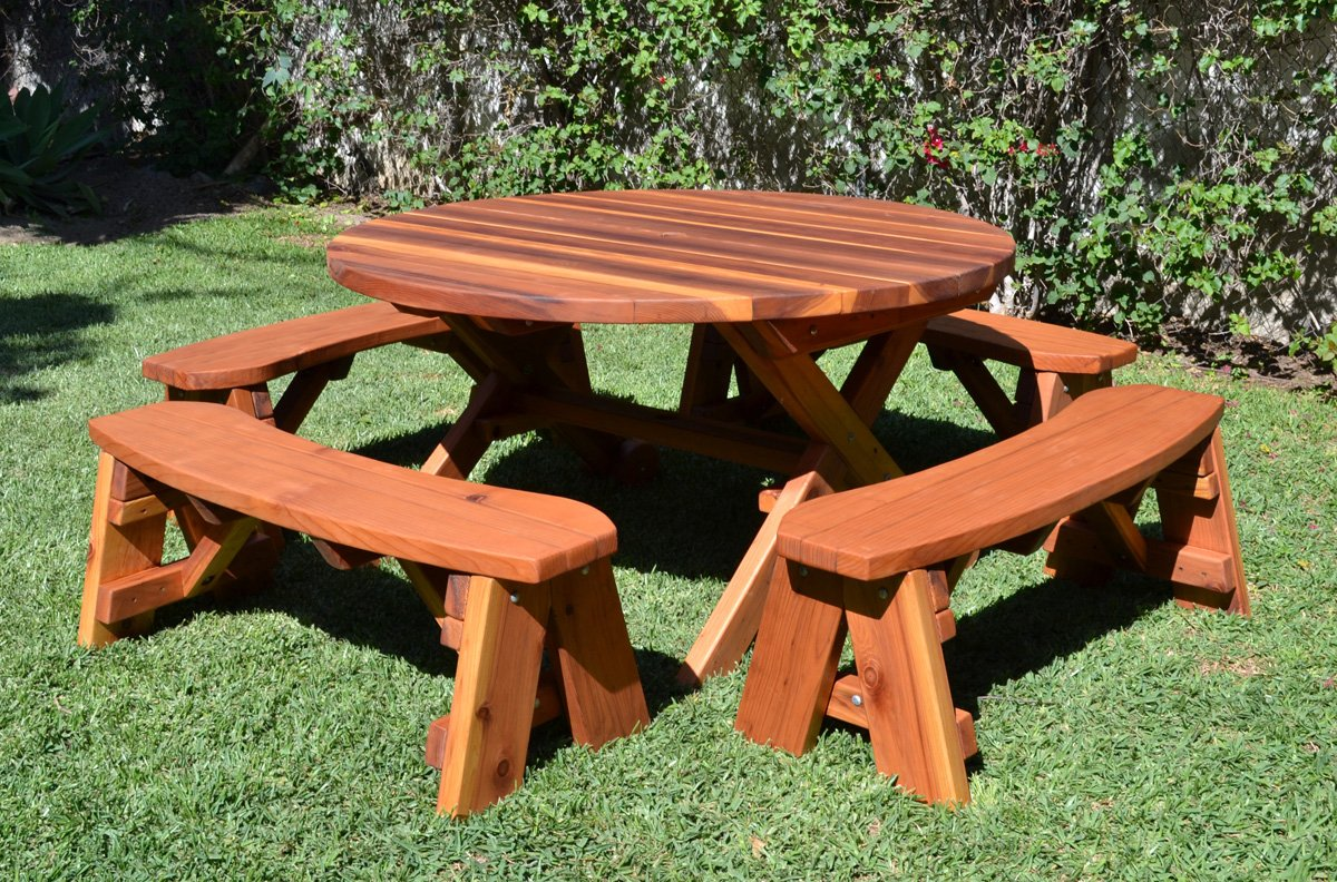 Round Picnic Table With Wheels Options 5 Diameter Unattached Benches Redwood
