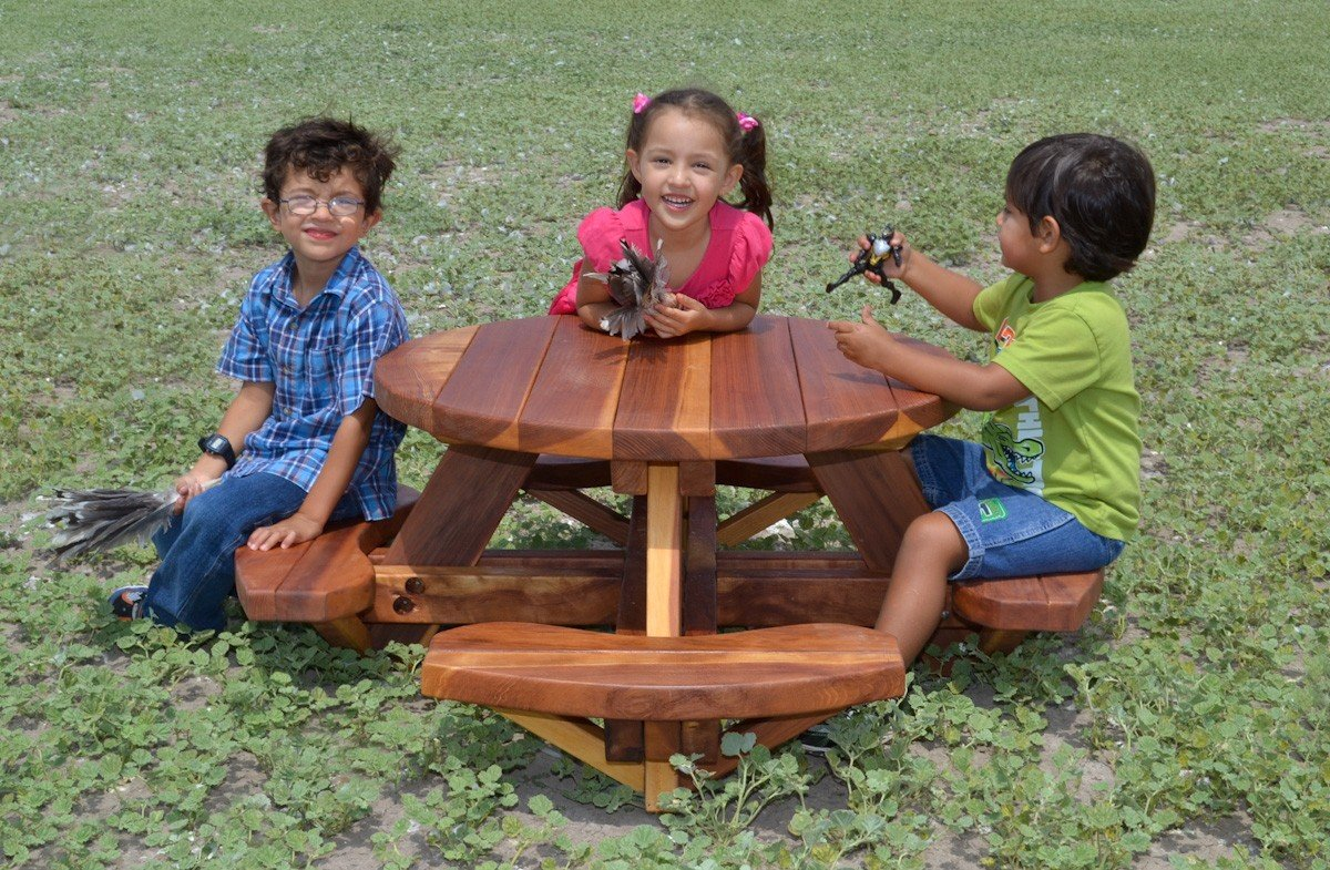 Round Wooden Picnic Table For Toddlers