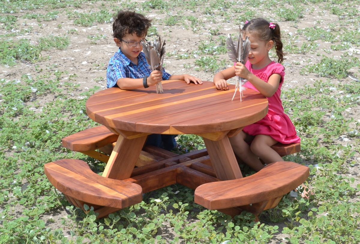 round wooden picnic table kit for toddlers forever redwood. Black Bedroom Furniture Sets. Home Design Ideas