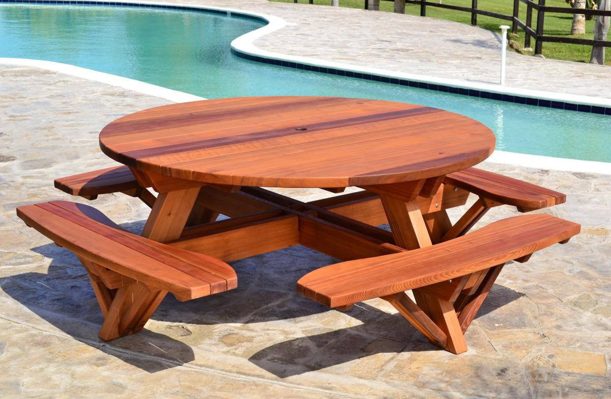 Round Picnic Table Options 6 Diameter Attached Benches Old Growth