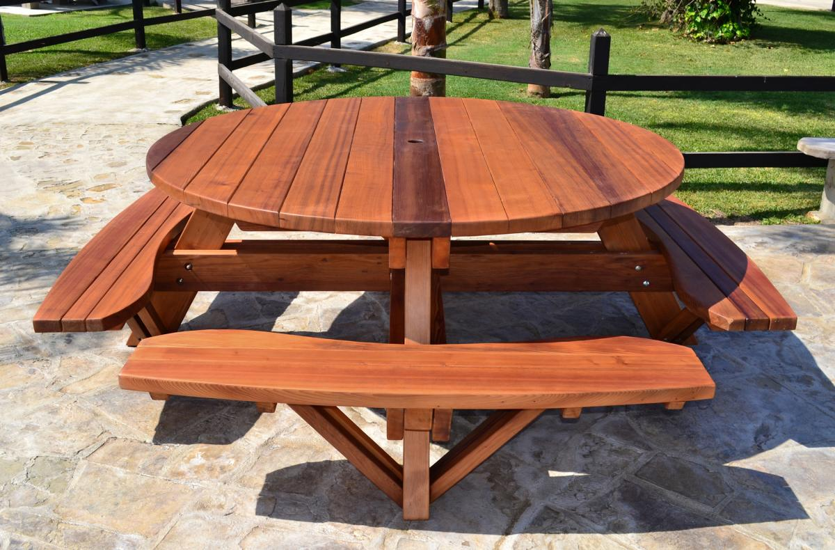 Round Wooden Picnic Tables Attached Benches