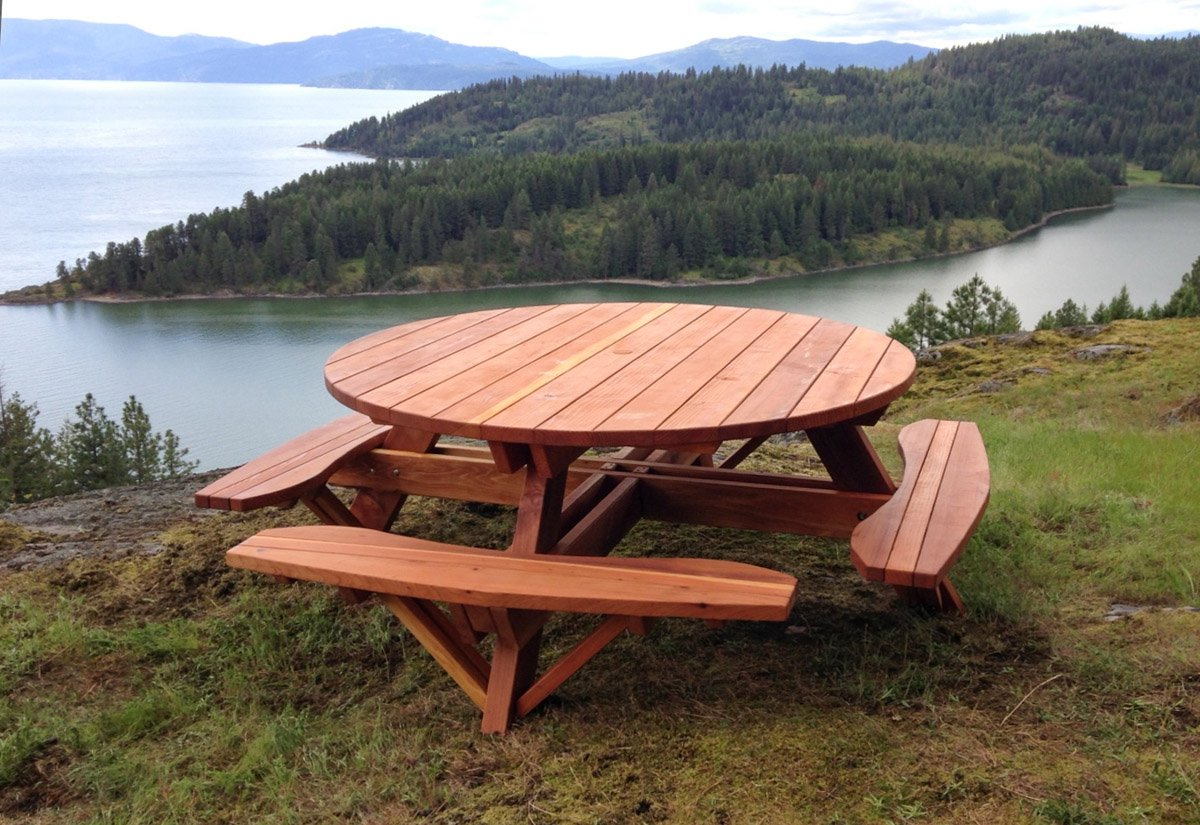 Round wooden picnic table with attached benches round wooden picnic tables attached benches watchthetrailerfo
