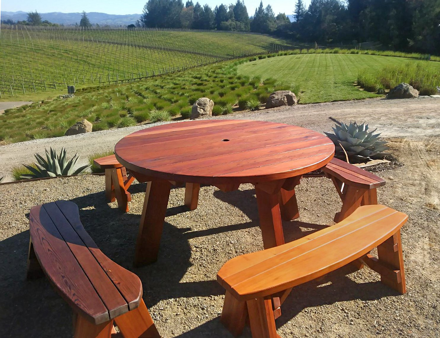 Superieur ... Round Picnic Table (Options: 5u0027 Diameter, Unattached Benches, Redwood,  Round ...