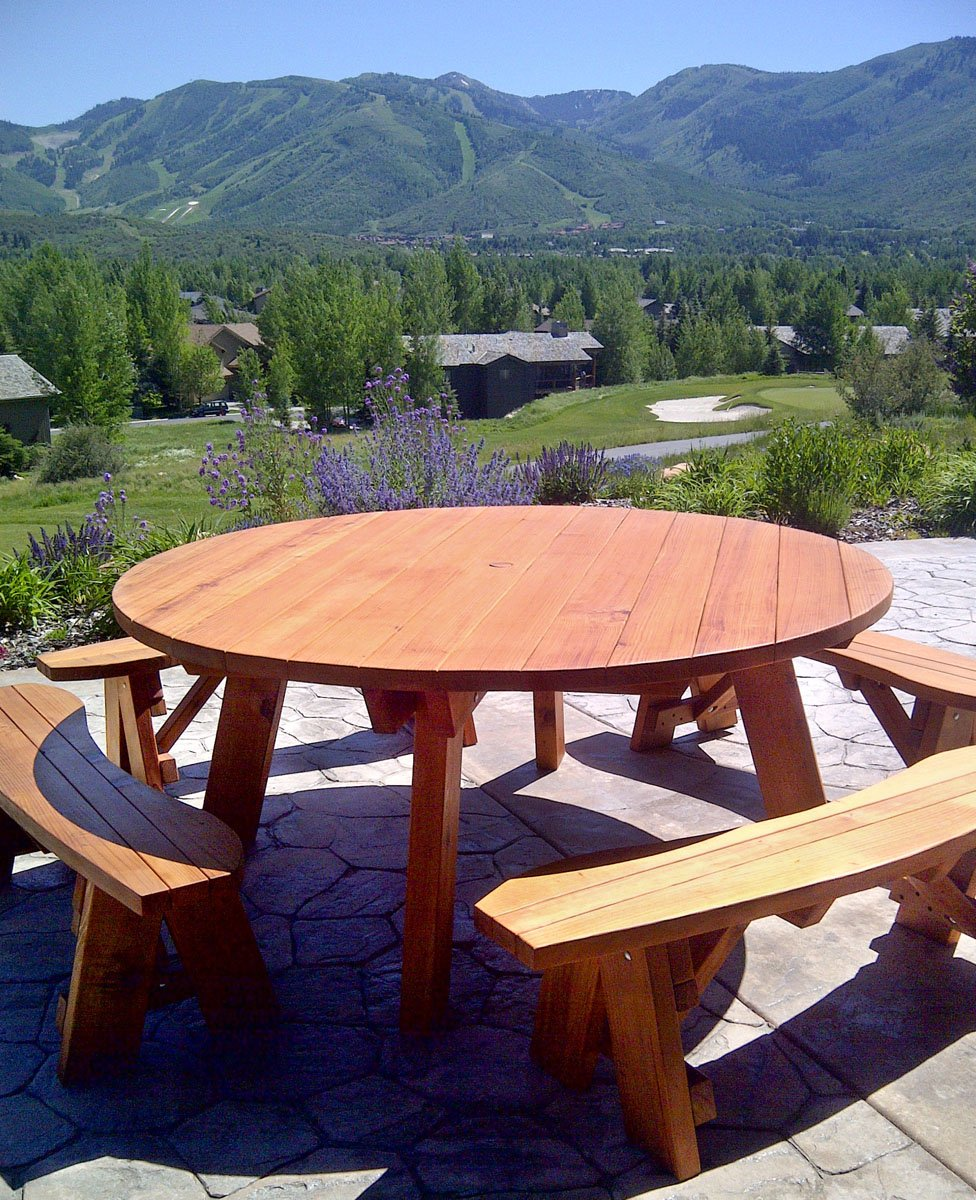 Round Wooden Picnic Tables (Detached Benches)