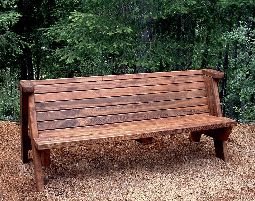 Rustic Redwood Bench Custom Garden Seating