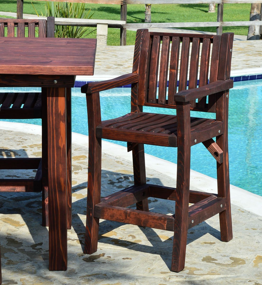 Large outdoor wood cocktail table custom redwood tables - Standard coffee table height ...