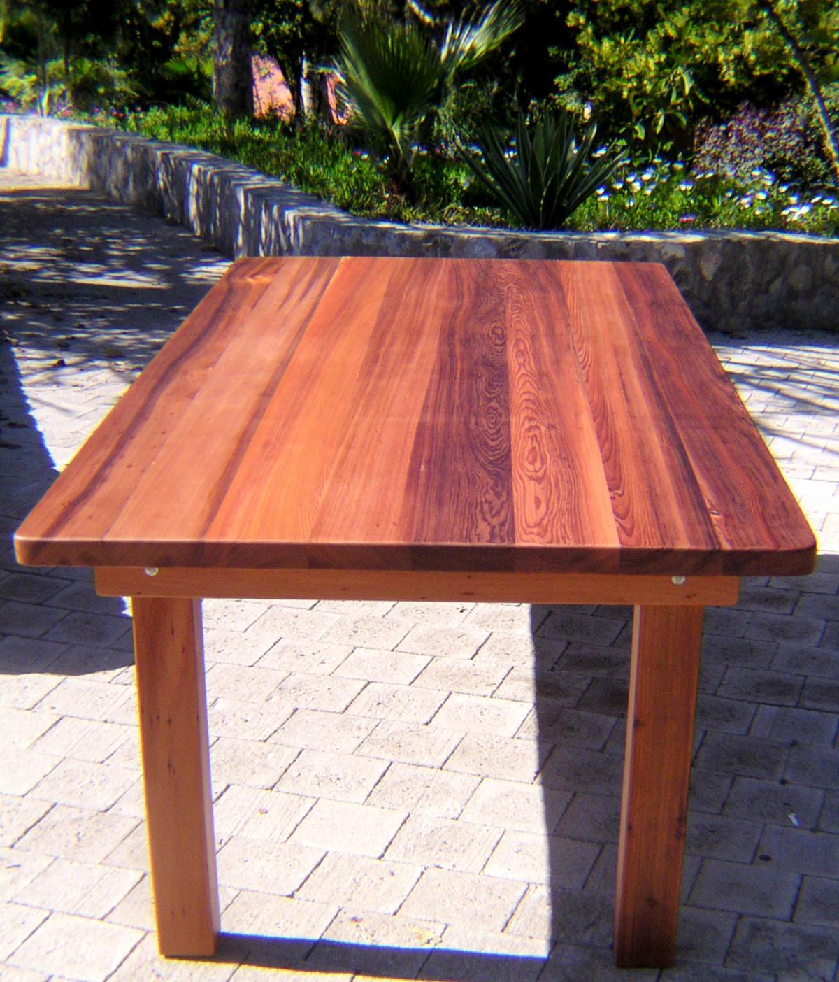 Redwood Log Sofa Table Orlando: Redwood Patio Table: Custom Made Redwood Dining Tables