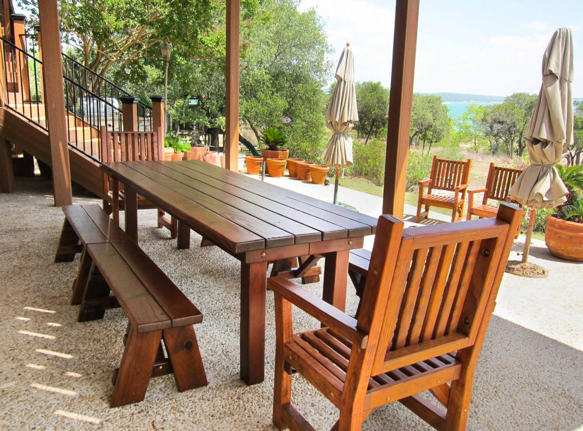 Patio Tables Dining: Redwood Patio Table: Custom Made Redwood Dining Tables