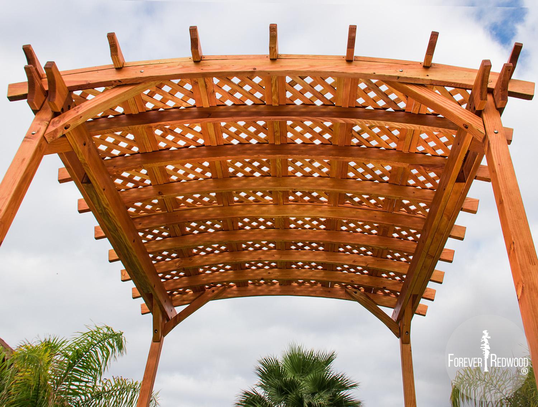 Small Arched Pergola Kits: Redwood Arched Garden Pergolas