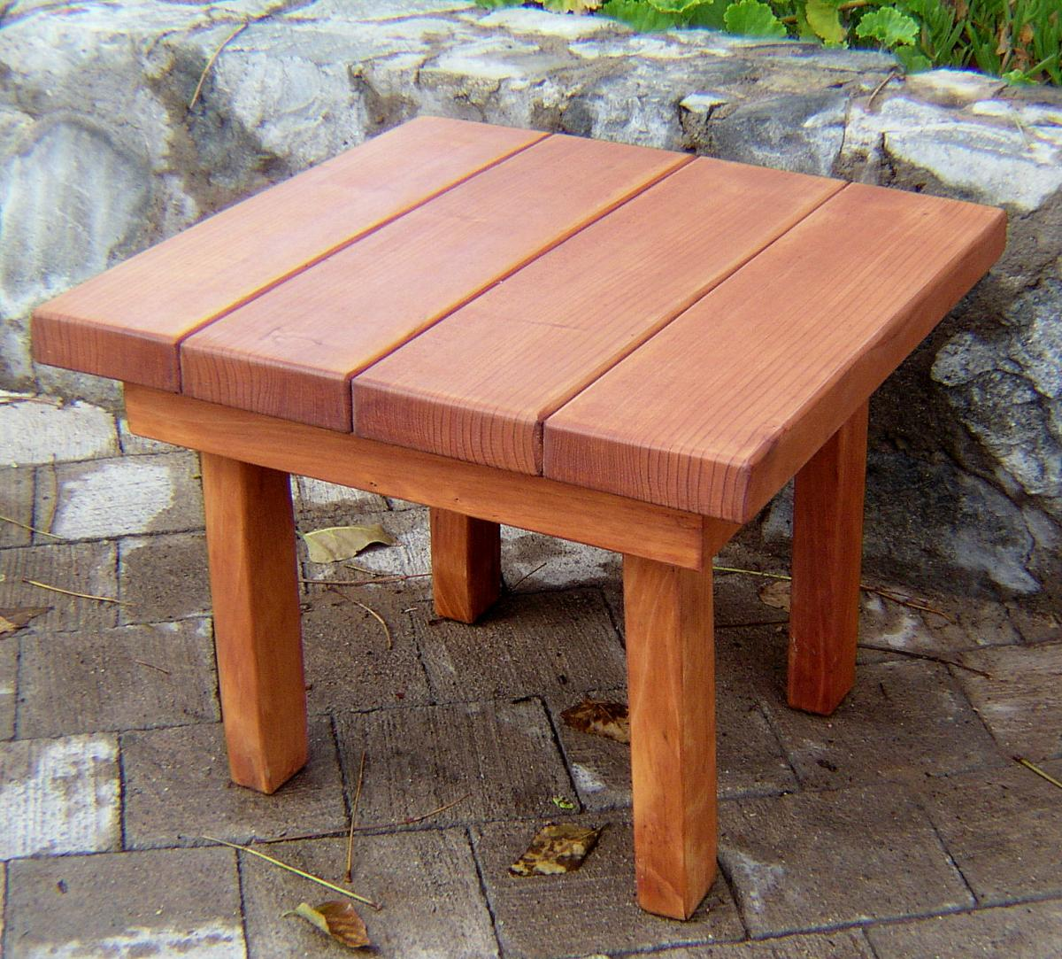 small square solid redwood side table for outdoors. Black Bedroom Furniture Sets. Home Design Ideas