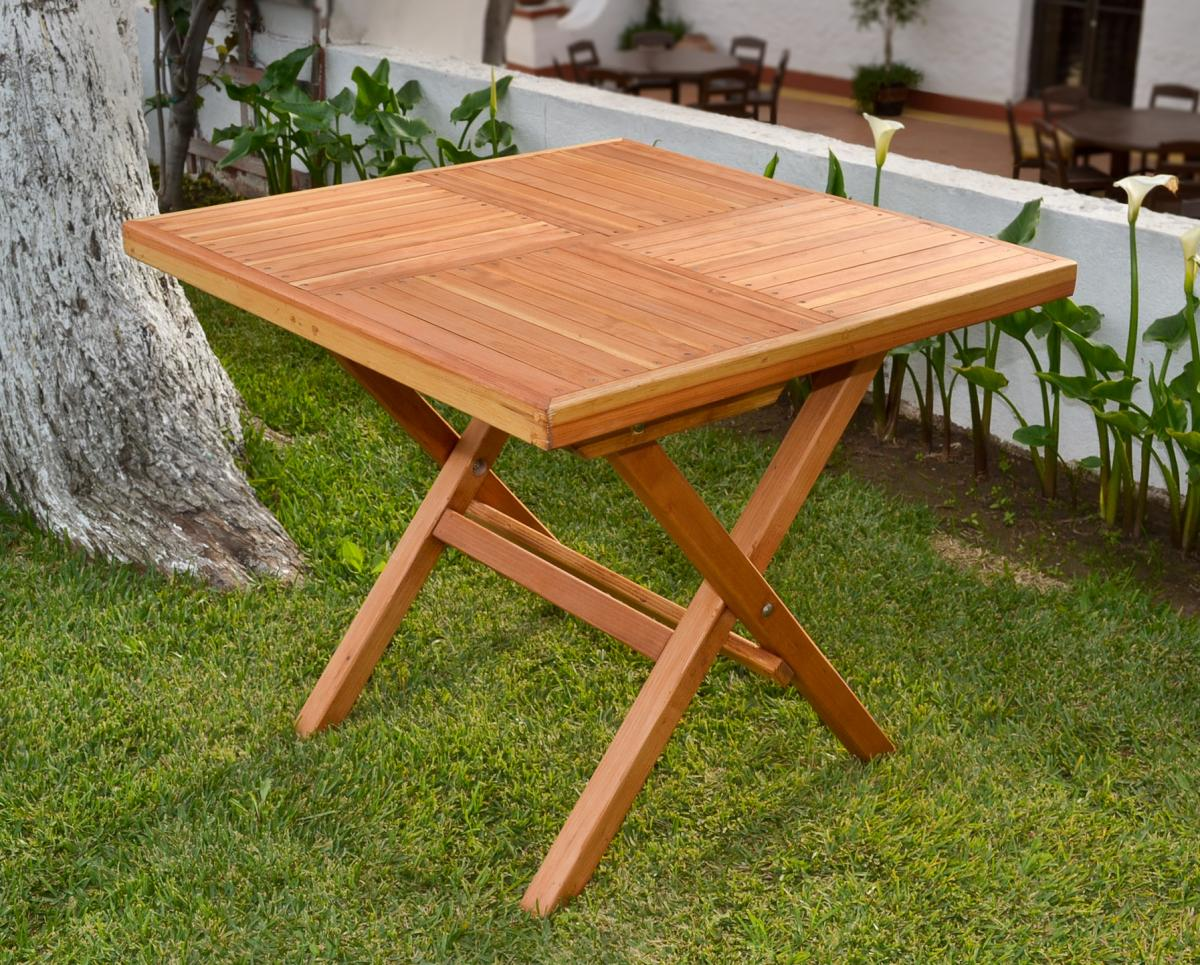 Square Wooden Folding Table With Two Folding Chairs