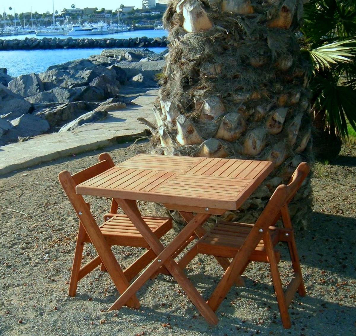 - Square Wooden Folding Table With Two Folding Chairs