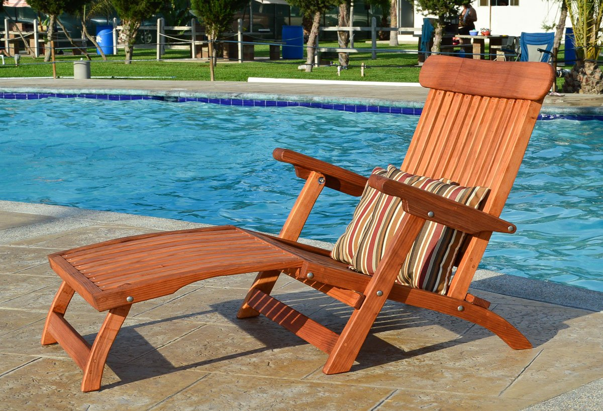 Cruise Ship-style Wood Chaise Lounger, Foldable Design