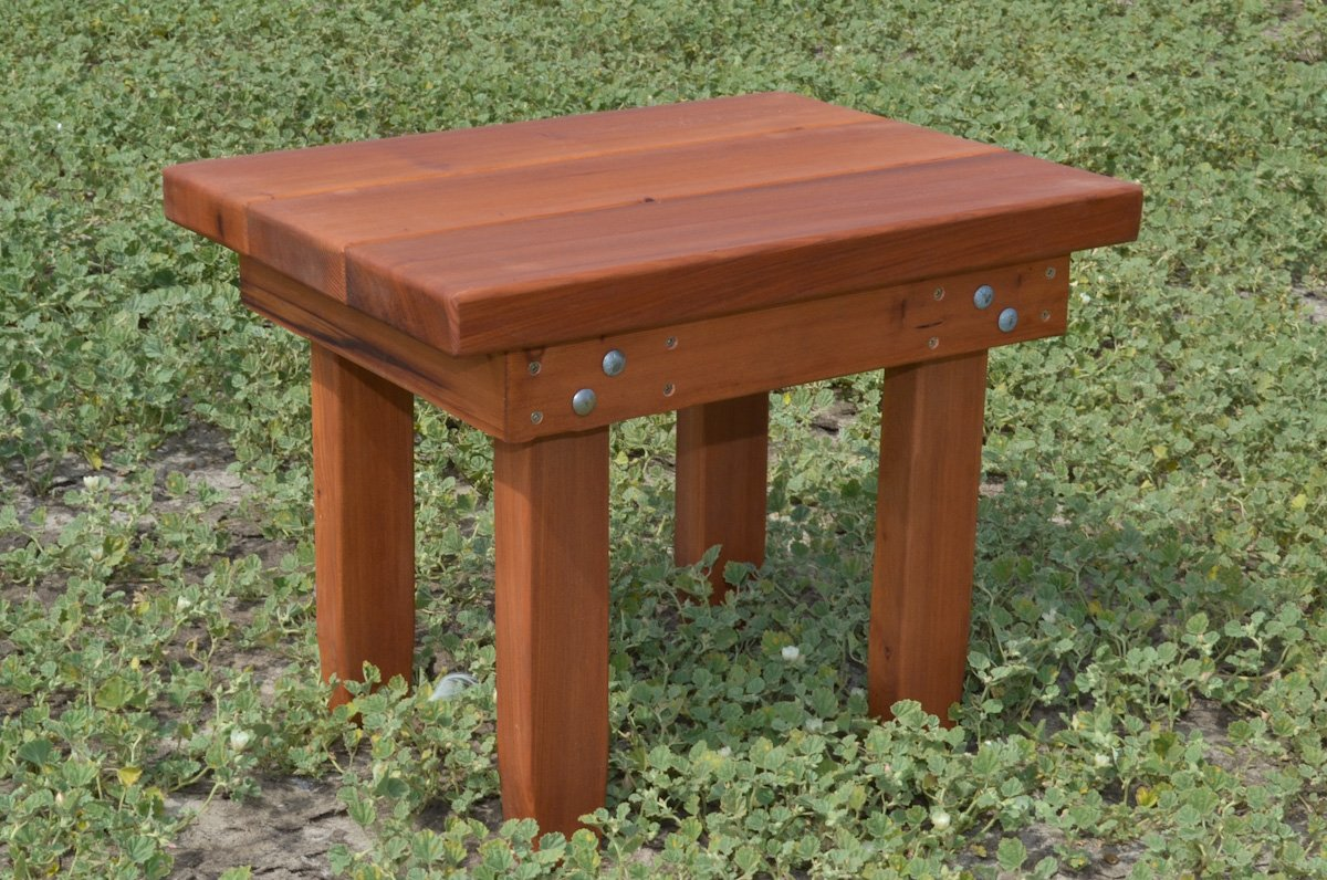 sturdy wood side table natural redwood side tables. Black Bedroom Furniture Sets. Home Design Ideas