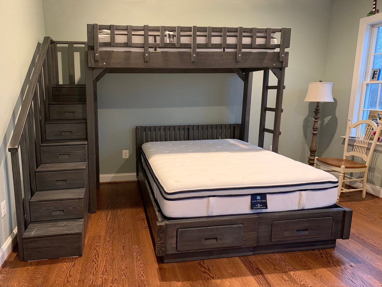 Picture of: The Stairway Wooden Bunk Beds Forever Redwood