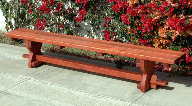 ... Trestle Bench (Options: 8u0027 L, Mature Redwood, Transparent Premium  Sealant) ...