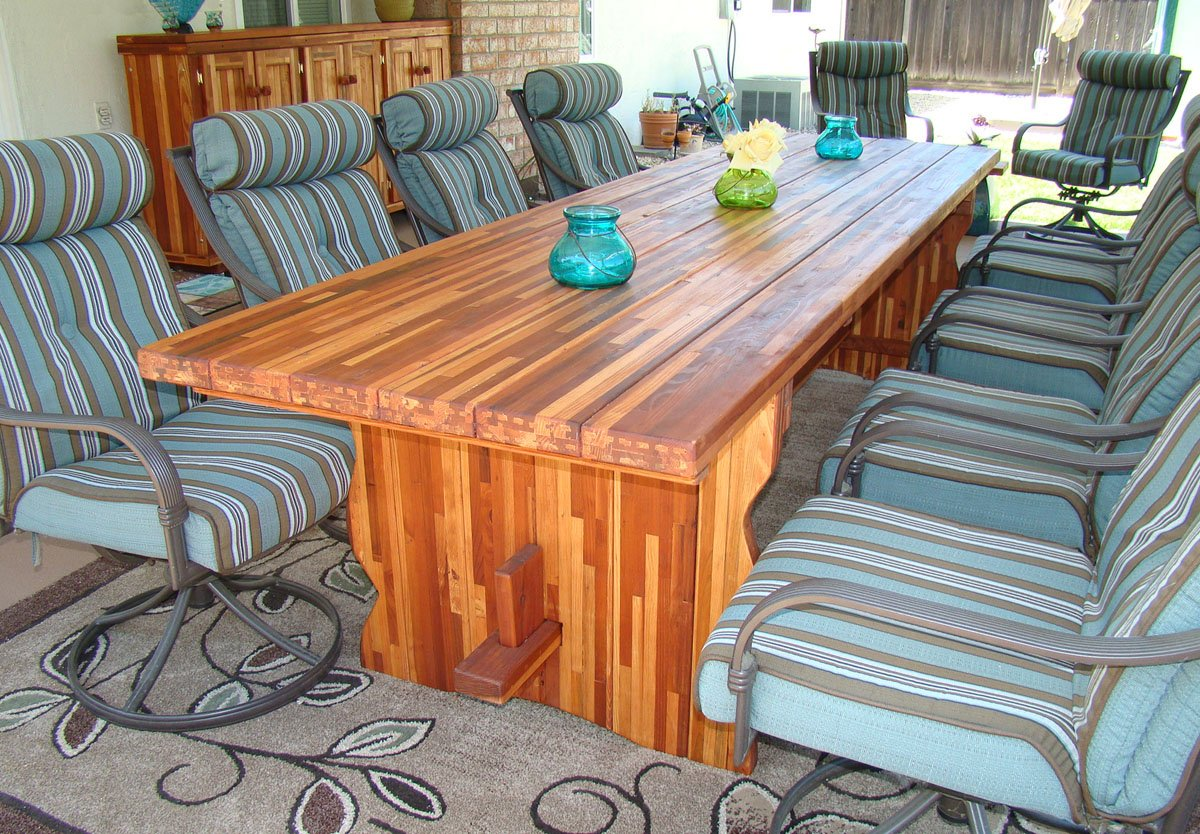 Natural Wood Outdoor Dining Table With Benches