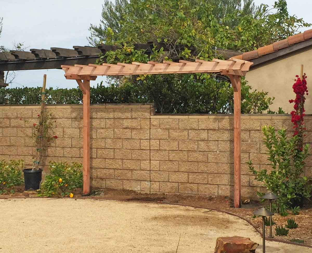 ... Two-Post Arbor (Options: 12' x 3', Redwood, No ... - Two-Post Wood Arbor Forever Redwood