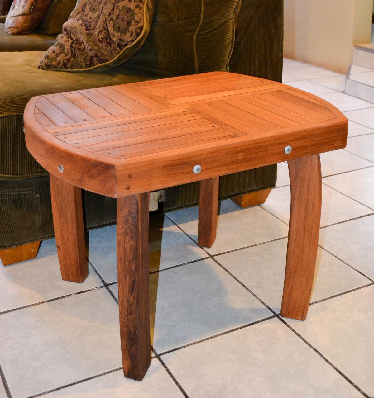 custom wood side table natural redwood side tables. Black Bedroom Furniture Sets. Home Design Ideas