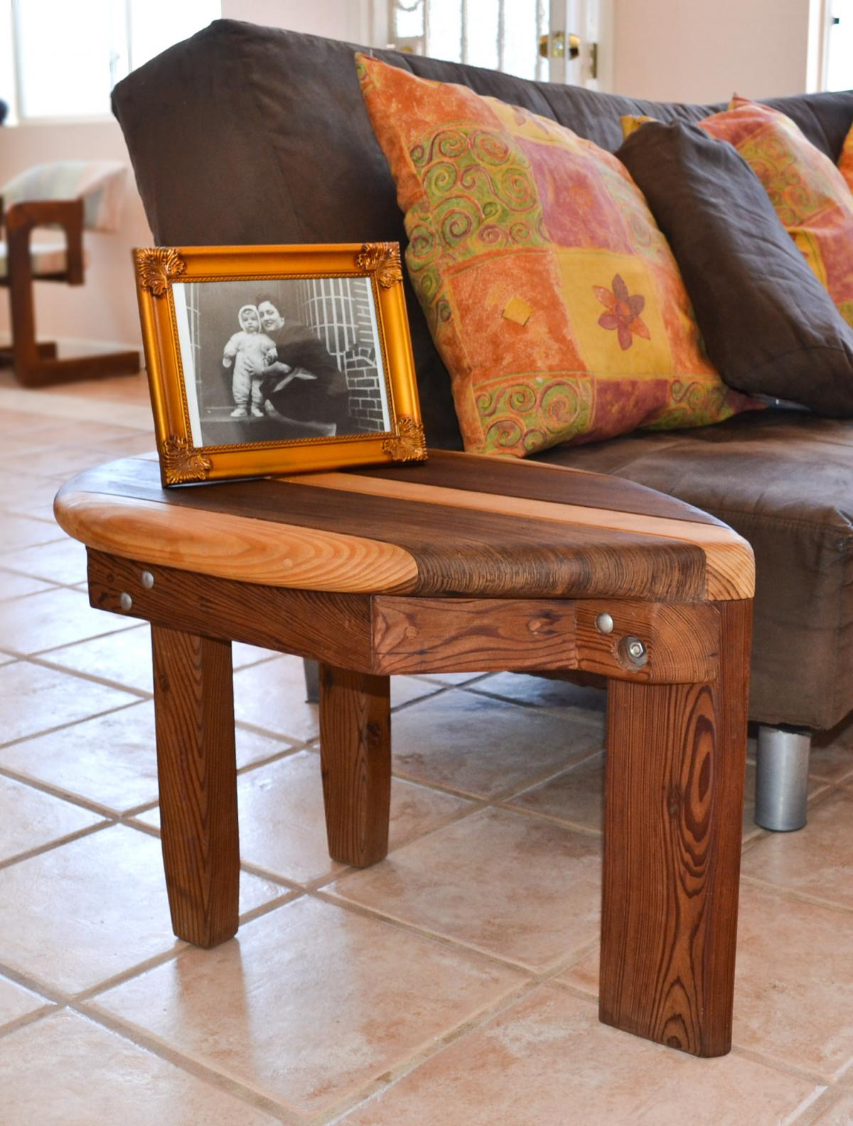 Surfboard Shaped Solid Wood Coffee Table Forever Redwood - Redwood side table