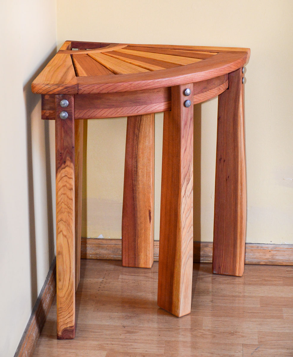 Unique Wood Benches: Redwood Corner Shower Bench, Custom Wooden Bench