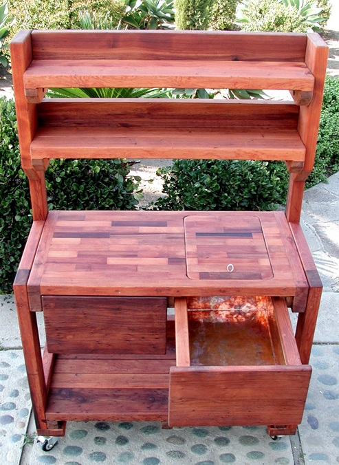 eliu0027s potting bench options redwood with casters 2 shelf copper inset