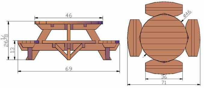 Kid Size Round Wood Picnic Table Kit Forever Redwood