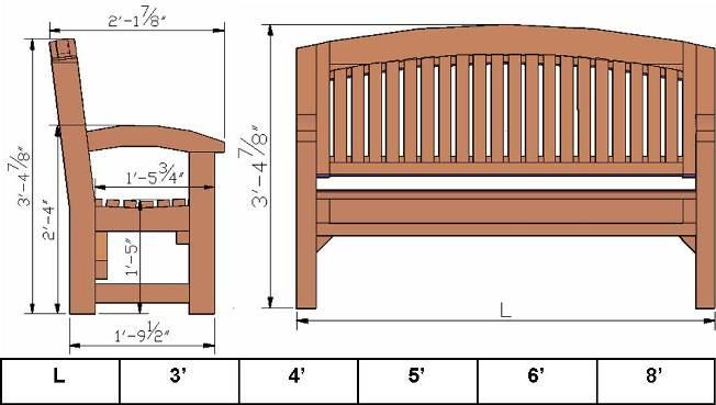 bench dimensions design