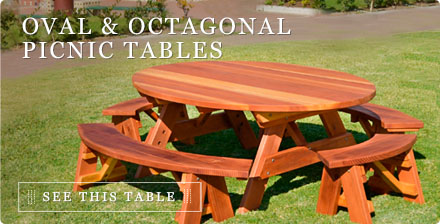 Oval & Octagonal Picnic Tables - Forever Redwood