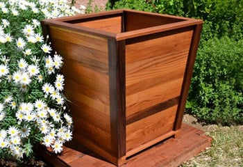 Tapered wooden planters forever redwood for Tapered planter box plans