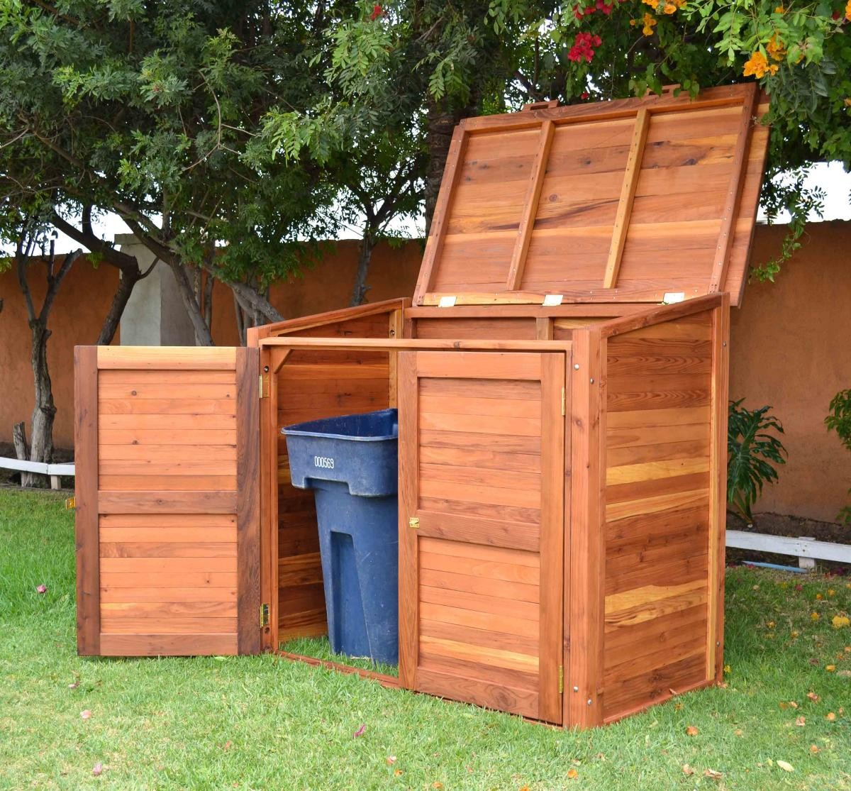 Regal refuse receptacle wood garbage can forever redwood for Cache poubelle exterieur