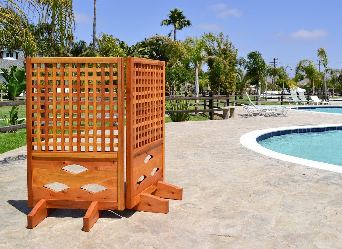 Poolside privacy panel forever redwood for Outdoor wood privacy screen panels