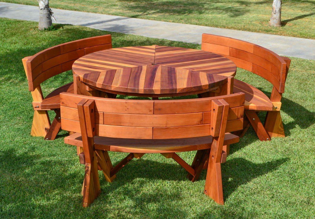 lisa 39 s round dining table built to last decades forever redwood. Black Bedroom Furniture Sets. Home Design Ideas